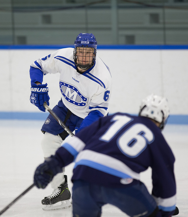 Andrew Reis, of Colby College, in a NCAA Division III hockey game against Connecticut College on February 20, 2015 in Waterville, ME. (Dustin Satloff/Colby College Athletics)
