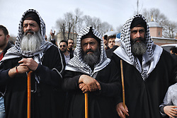 Demonstrators participate in a protest against the mosque attacks in New Zealand during a protest in Istanbul, Saturday, March 16, 2019. A few hundred demonstrators have protested the New Zealand mosque shootings outside Istanbul's Hagia Sophia _ a Byzantine-era cathedral that was turned into a mosque and now serves as a museum. The demonstrators _ mostly members of Islamic-leaning civil society groups _ called for the symbolic edifice to be reconverted into a mosque. Photo by Kemal Aslan/Depo Photos/ABACAPRESS.COM