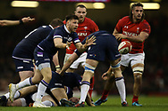 Ali Price, the scrum-half of Scotland in action. Wales v Scotland, NatWest 6 nations 2018 championship match at the Principality Stadium in Cardiff , South Wales on Saturday 3rd February 2018.<br /> pic by Andrew Orchard, Andrew Orchard sports photography