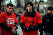 Moscow, Russia, 2002..Members of Forward Together [Idushchie Vmeste], the youth wing of the pro-presidential Unity party,  demonstrate in central Moscow. Unity was founded specifically to support President Putin, and some of the demonstrators wear t-shirts with his portrait, a practice which has since ceased after talk of a growing Putin personality cult.