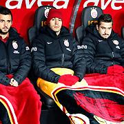 Galatasaray's Emre Colak (L), Umut Bulut (C) and Aydin Yılmaz (R) during their Turkish Superleague soccer match Galatasaray between Orduspor at the AliSamiyen Spor Kompleksi TT arena in Istanbul Turkey on Monday 25 February 2013. Photo by Aykut AKICI/TURKPIX