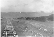 RGS track at Lizard Head Pass as seen from end of southbound special inspection train, looking north toward Trout Lake.<br /> RGS  Lizard Head, CO  Taken by Barriger, John W. III - 9/9/1935<br /> Thanks to Don Bergman for additional information.
