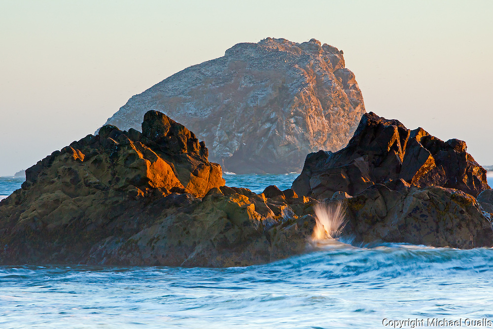 A sea stack offshore north of Klamath at the Redwood Creek outlet.