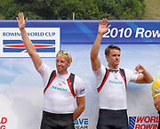 Lucerne, Switzerland.  GBR M2- Bow Peter REED and Andy TRIGGS HODGE, silver Medalist,  Men's pair. 2010 FISA World Cup. Lake Rotsee, Lucerne.  08:58:34   Sunday  11/07/2010.  [Mandatory Credit Peter Spurrier/ Intersport Images]