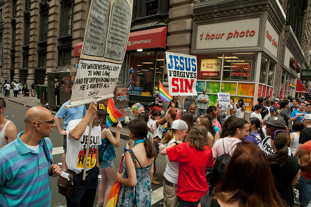 Christian evangelizers on the sidelines of the 2011 Pride Parade on New York's Fifth Avenue.