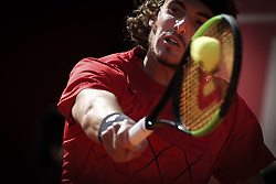 May 3, 2018 - Estoril, Portugal - Stefanos Tsitsipas from Greece in action during the match between Kevin Anderson and Stefanos Tsitsipas for Millennium Estoril Open 2018 at Clube de Tenis do Estoril on May 03, 2018 in Estoril, Portugal. (Credit Image: © Carlos Costa/NurPhoto via ZUMA Press)