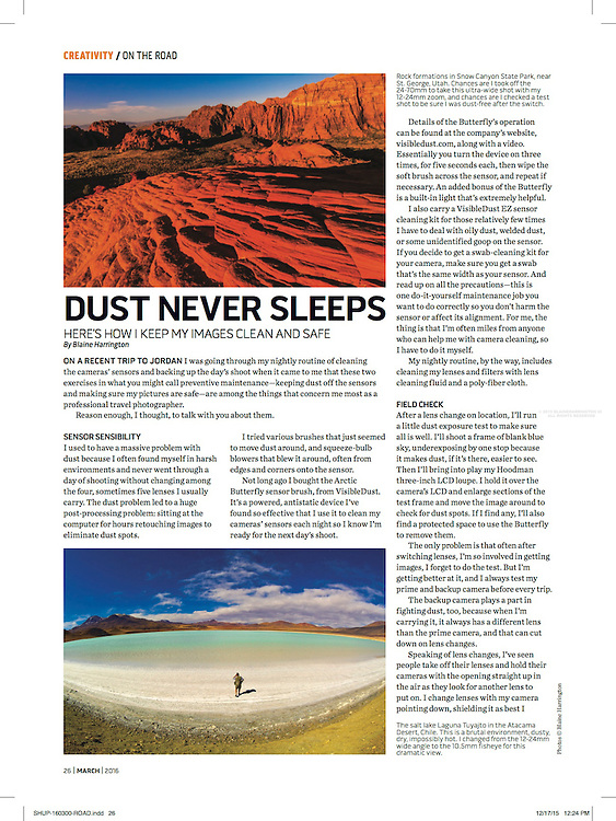 """Blaine Harrington's March 2016 Shutterbug Magazine column """"On the Road"""" titled """"Dust Never Sleeps"""" discusses cleaning camera sensors and backing up photos on location."""