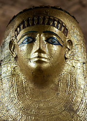Detail of golden Egyptian coffin lid Neues Museum or New Museum on Museumsinsel or Museum Island in Berlin