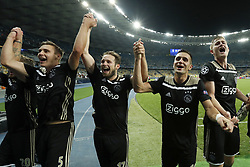(L-R) Maximilian Wober of Ajax, Daley Blind of Ajax, Dusan Tadic of Ajax, Matthijs de Ligt of Ajax, during the UEFA Champions League play offs round second leg match between Dynamo Kyiv and Ajax Amsterdam at the NSK Olimpiyskyi on August 28, 2018 in Kyiv, Ukraine