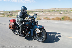 Steve Macdonald riding his 1928 Henderson Deluxe during stage 11 (289 miles) of the Motorcycle Cannonball Cross-Country Endurance Run, which on this day ran from Grand Junction, CO to Springville, UT., USA. Tuesday, September 16, 2014.  Photography ©2014 Michael Lichter.