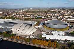 Glasgow, Scotland, UK. 21st October 2021. Final preparations underway at the site of the UN Climate Change Conference COP26 to be held in Glasgow from Oct 31st. Pic; Aerial view from drone of the COP26 site beside the River Clyde.  Iain Masterton/Alamy Live News.