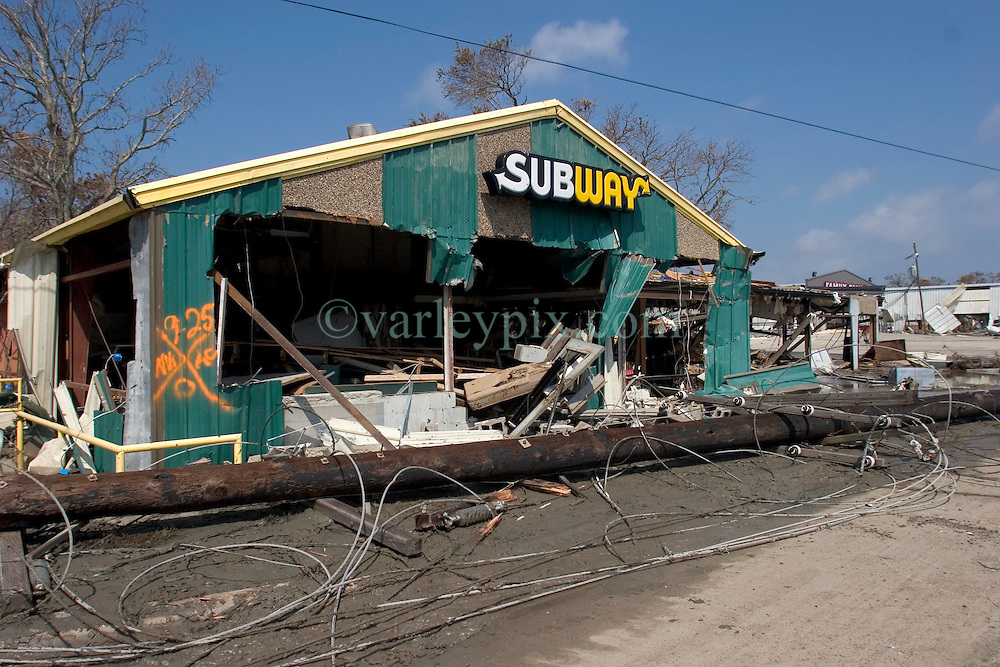 26th Sept, 2005. Cameron, Louisiana. Hurricane Rita aftermath.<br /> The destroyed remains of a downtown business in Cameron, Louisiana two days after the storm ravaged the small town. All that remains of the Subway food store on the main road into town.<br /> Photo; ©Charlie Varley/varleypix.com