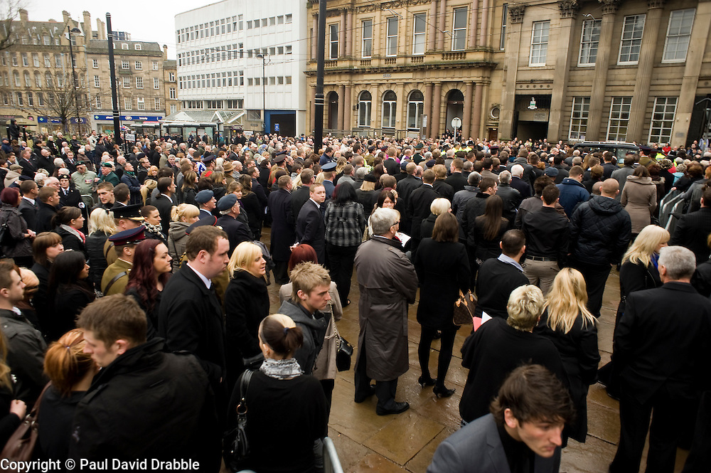 """Members of the general public pay their last respects out of Sheffield Cathedral where the Funeral service corporal Liam Riley took place on Wednesday 24 February. ..Corporal Riley of 3rd Battalion Yorkshire Regiment who died in an explosion in Afghanistan on 1 February 2010 while on foot patrol south of the Kings Hill check point Helmand. ..Upon hearing of Liam's death he was described by Price Harry as """"a legend"""""""