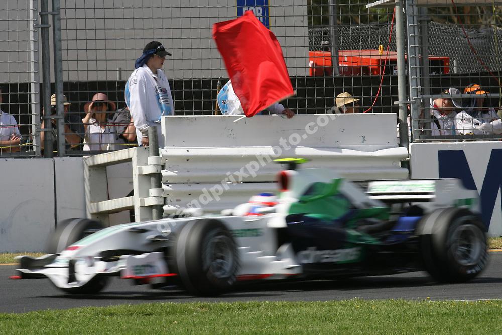 Red flag for Rubens Barrichallo (Honda) during qualifying for the 2008 Australian Grand Prix in Albert Park, Melbourne. Photo: Grand Prix Photo
