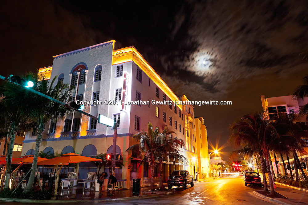 The Edison Hotel on South Miami Beach's Ocean Drive at night. WATERMARKS WILL NOT APPEAR ON PRINTS OR LICENSED IMAGES.