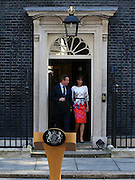 LONDON, June 24, 2016 -- <br /> <br /> British Prime Minister David Cameron leaves with his wife Samantha after his speech at 10 Downing Street in London, June 24, 2016. British Prime Minister David Cameron on Friday morning announced his intention to step down after his country has voted to leave the European Union (EU). <br /> ©Exclusivepix Media