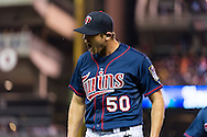 Casey Fien #50 of the Minnesota Twins reacts after getting out of an inning against the Boston Red Sox on May 17, 2013 at Target Field in Minneapolis, Minnesota.  The Red Sox defeated the Twins 3 to 2.  Photo: Ben Krause