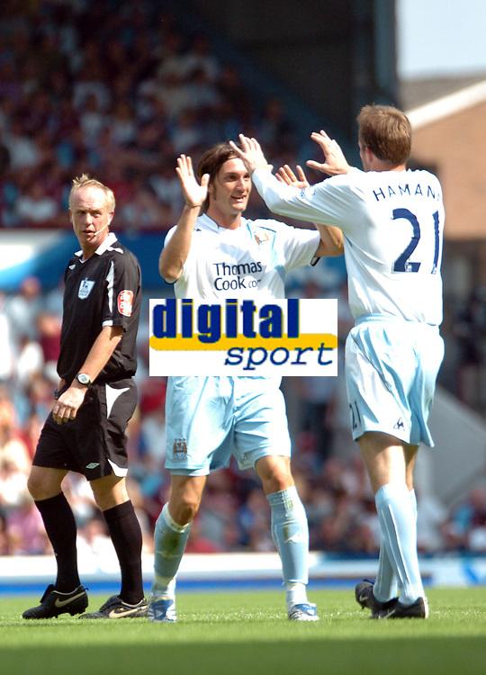 Photo: Tony Oudot. <br /> West Ham United v Manchester City. Barclays Premiership. 11/08/2007. <br /> Rolando Bianchi of Manchester City celebrates his goal with Dietmar Hamann