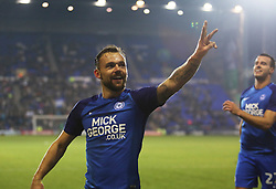 Danny Lloyd of Peterborough United celebrates after scoring his third goal and his sides fourth goal of the game - Mandatory by-line: Joe Dent/JMP - 15/11/2017 - FOOTBALL - Prenton Park - Birkenhead, England - Tranmere Rovers v Peterborough United - Emirates FA Cup first round replay