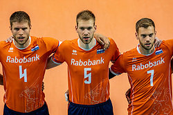 Thijs Ter Horst of Netherlands, Luuc van der Ent of Netherlands, Gijs Jorna of Netherlands in action during the CEV Eurovolley 2021 Qualifiers between Croatia and Netherlands at Topsporthall Omnisport on May 16, 2021 in Apeldoorn, Netherlands