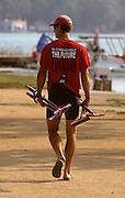 Barcelona, SPAIN. General Views round the boating area,Canadian, athlete carry oars blades 1992 Olympic Rowing Regatta Lake Banyoles, Catalonia [Mandatory Credit Peter Spurrier/ Intersport Images]