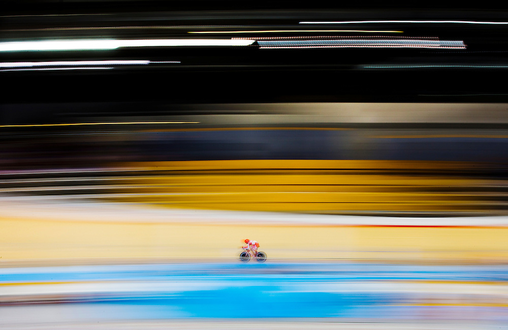 Eduardo Colon Ortiz of Peru competes in the track cycling 1km time trial for the men's omnium at the Pan Am Games in Milton, Friday July 17, 2015.    THE CANADIAN PRESS/Mark Blinch