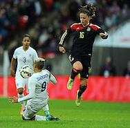 Lianne Sanderson of England Women is challenged by Melanie Leupolz of Germany Women<br /> - Womens International Football - England vs Germany - Wembley Stadium - London, England - 23rdNovember 2014  - Picture Robin Parker/Sportimage