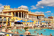 The largest medicinal thermal baths in Europe. The Neo baroque Szechenyi baths, City Park, budapest, Hungary .<br /> <br /> Visit our HUNGARY HISTORIC PLACES PHOTO COLLECTIONS for more photos to download or buy as wall art prints https://funkystock.photoshelter.com/gallery-collection/Pictures-Images-of-Hungary-Photos-of-Hungarian-Historic-Landmark-Sites/C0000Te8AnPgxjRg