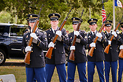 29 AUGUST 2020 - RUNNELLS, IOWA: The Iowa Army National Guard Honor Guard at the funeral for Pvt. Roy Brown Jr. in Runnells, IA. Pvt. Brown was a US Army soldier in World War II. He was an infantryman in the 126th Infantry Regiment, 32nd Infantry Division, serving in the Australian Territory of Papua (now Papua New Guinea). He went missing in action on Dec. 2, 1942. Unidentified remains were recovered on Feb. 2, 1943 and were eventually interred in the Manila American Cemetery. On May 14, 2019, Defense POW/MIA Accounting Agency using dental records, circumstantial evidence and DNA identified the remains as Pvt. Brown's. He was reinterred in the Lowman Cemetery in Runnells Saturday.     PHOTO BY JACK KURTZ