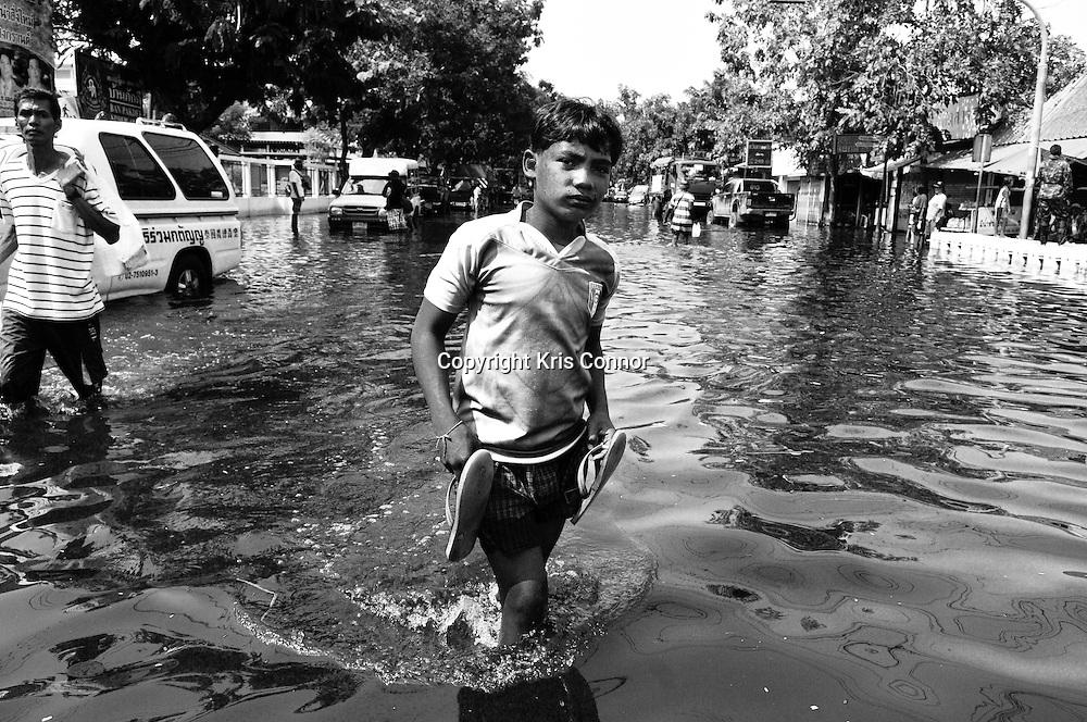 Flooding in the Phra Pradaeng neighborhood of Bangkok, Thailand.