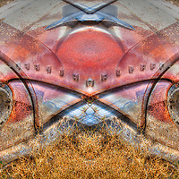 Mirror-montaged high dynamic range image of classic Packard clip in grass field.