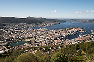An overview of Bergen, Norway, seen from the top of Mt. Fløren.