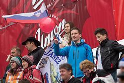 Fans during the 1st Run of Men's Giant Slalom - Pokal Vitranc 2013 of FIS Alpine Ski World Cup 2012/2013, on March 9, 2013 in Vitranc, Kranjska Gora, Slovenia.  (Photo By Vid Ponikvar / Sportida.com)