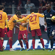 Galatasaray's Emre Colak (C) celebrate his goal during their Turkish Super League soccer match Galatasaray between IBBSpor at the TT Arena at Seyrantepe in Istanbul Turkey on Tuesday, 03 January 2012. Photo by TURKPIX