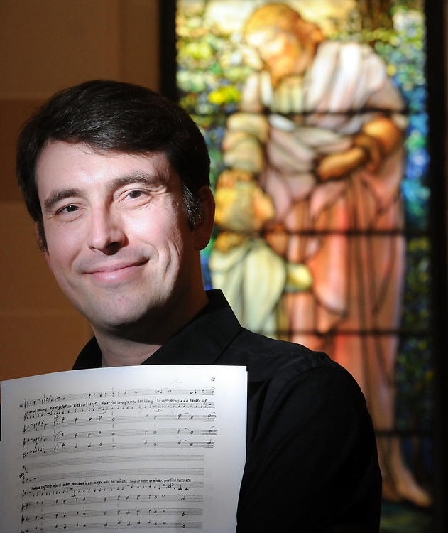 """Adrian Slywotzky of New Haven is the music director and conductor of """"Merlin,"""" Hugo Kauder's opera. Photographed in Trinity Lutheran Church, New Haven.  Mara Lavitt/New Haven Register mlavitt@newhavenregister.com<br /> <br /> 5/29/13"""