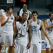 Efes Pilsen's players (Left to Right) Bootsy THORNTON, Ali ISIK, Lawrence ROBERTS, Kerem GONLUM, Kerem TUNCERI during their Turkish Basketball league match Efes Pilsen between Olin Edirne at the Sinan Erdem Arena in Istanbul Turkey on Friday 06 May 2011. Photo by TURKPIX