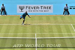 June 20, 2018 - London, United Kingdom - Frances Tiafoe (USA)  play the second round singles match on day three of Fever Tree Championships at Queen's Club, London on June 20, 2018. (Credit Image: © Alberto Pezzali/NurPhoto via ZUMA Press)