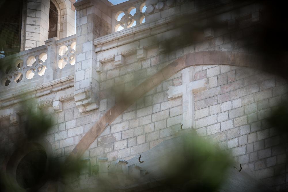 5 October 2018, Jerusalem: Cross on the wall of the Notre Dam hotel.