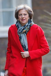 © Licensed to London News Pictures. 16/03/2016. London, UK. Home Secretary THERESA MAY attending to a cabinet meeting in Downing Street on the Budget Day, Wednesday, 16 March 2016. Photo credit: Tolga Akmen/LNP