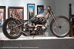 Led Sled's Pat Patterson's Naked Truth custom 1998 Harley-Davidson Sportster in its Led Sled springer in a Led Sled rigid Frame in the Heavy Mettle - Motorcycles and Art with Moxie exhibition at the Sturgis Buffalo Chip. This is the 2020 iteration of the annual Motorcycles as Art series curated and produced by Michael Lichter. Sturgis, SD, USA. Friday, August 7, 2020. Photography ©2020 Michael Lichter.