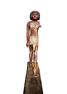 Ancient Egyptian wooden statue,  Middle Kingdom (1980-1700 BC), tomb of Shimes, Asyut. Egyptian Museum, Turin.  white background. .<br /> <br /> If you prefer to buy from our ALAMY PHOTO LIBRARY  Collection visit : https://www.alamy.com/portfolio/paul-williams-funkystock/ancient-egyptian-art-artefacts.html  . Type -   Turin   - into the LOWER SEARCH WITHIN GALLERY box. Refine search by adding background colour, subject etc<br /> <br /> Visit our ANCIENT WORLD PHOTO COLLECTIONS for more photos to download or buy as wall art prints https://funkystock.photoshelter.com/gallery-collection/Ancient-World-Art-Antiquities-Historic-Sites-Pictures-Images-of/C00006u26yqSkDOM