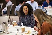 Jessica Singleton Castillo networks at the Silicon Valley Business Journal's Deisgn Thinking Lab at the Four Seasons Hotel in East Palo Alto, California, on November 15, 2018. (Stan Olszewski for Silicon Valley Business Journal)