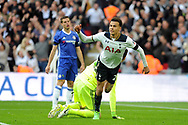Tottenham's Deli Alli © celebrates after scoring his teams 2nd goal to make it 2-2. The Emirates FA Cup semi-final match, Chelsea v Tottenham Hotspur at Wembley Stadium in London on Saturday 22nd April 2017.<br /> pic by Carl Robertson,  Andrew Orchard sports photography.