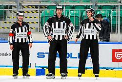 Referee Milan Zrnic, linesman Pierre Racicot and linesman Gasper Jaka Zgonc during ice hockey match between HK SZ Olimpija Ljubljana and HC Orli Znojmo in bet-at-home ICE Hockey League, on October 17, 2021 in Hala Tivoli, Ljubljana, Slovenia. Photo by Morgen Kristan / Sportida