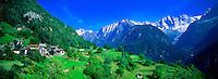 Alpine village and the Swiss Alps, Soglio, Switzerland