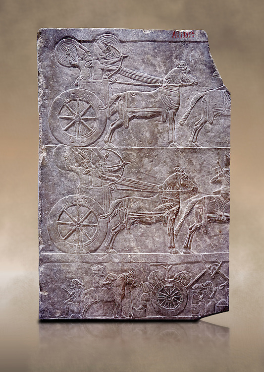 Stone relief sculptured panel of aa Assyrian Chariot. From the palace of Assurbanipal room VI/T1, Nimrud, third quarter of the 8th century BC. inv 19909  Louvre Museum , Paris .<br /> <br /> If you prefer to buy from our ALAMY PHOTO LIBRARY  Collection visit : https://www.alamy.com/portfolio/paul-williams-funkystock/ancient-assyria-antiquities.html  Refine search by adding background colour, place, subject, museum etc into the LOWER SEARCH WITHIN GALLERY box to <br /> <br /> Visit our ANCIENT WORLD PHOTO COLLECTIONS for more photos to download or buy as wall art prints https://funkystock.photoshelter.com/gallery-collection/Ancient-World-Art-Antiquities-Historic-Sites-Pictures-Images-of/C00006u26yqSkDOM