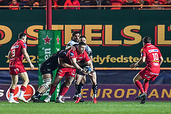 Scarlets' Rob Evans is tackled by Toulon's Marcel Van der Merwe<br /> <br /> Photographer Craig Thomas/Replay Images<br /> <br /> European Rugby Champions Cup Round 5 - Scarlets v Toulon - Saturday 20th January 2018 - Parc Y Scarlets - Llanelli<br /> <br /> World Copyright © Replay Images . All rights reserved. info@replayimages.co.uk - http://replayimages.co.uk