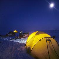 INTL. ARCTIC PROJECT, First expedition camp at Cape Arkticheskiy, Severnaya Zemlya. Temp: -40 deg.