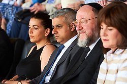 © Licensed to London News Pictures. 8/05/2016. London, UK. London's newly elected mayor, Sadiq Khan listens to the service at 'Yom Hashoah' the UK Jewish communities national holocaust remembrance commemoration at Barnet Copthall Stadium, north west London.<br /> Photo credit: Simon Jacobs/LNP