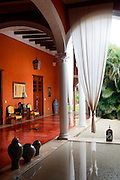 SHOT 11/18/11 9:23:02 AM - A courtyard in the Hotel Hacienda Merida in Mérida, Mexico. Built in 1840 the boutique hotel is a classic example of the colonial architecture that Merida is known for and features spacious rooms and a courtyard with pools. Merida is the capital and largest city of the Mexican state of Yucatán and the Yucatán Peninsula. It is located in the northwest part of the state, about 22 miles from the Gulf of Mexico coast. As the state and regional capital, Mérida is a cultural center, featuring multiple museums, art galleries, restaurants, movie theaters and shops. Mérida retains an abundance of beautiful colonial buildings and is a vibrant cultural center with music and dancing playing an important part in day-to-day life. (Photo by Marc Piscotty / © 2011)